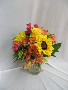 Sunflower Surprise Fresh Mason Jar Arrangement