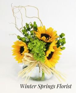 Sunflower Surprise Vased Arrangement in Winter Springs, FL   WINTER SPRINGS FLORIST AND GIFTS