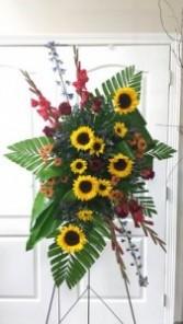 Sunflower sympathies funeral spray