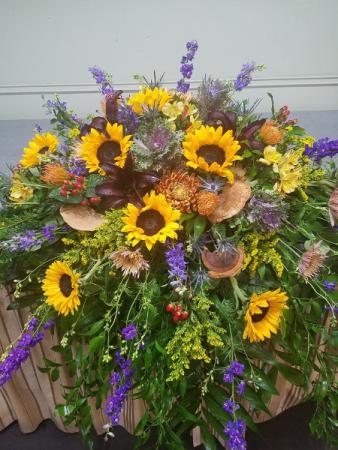 Sunflower Tribute Casket Spray
