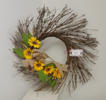Sunflower twig Artificial wreath