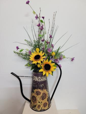 Sunflower watering can with artificial flowers Silk flower arrangement