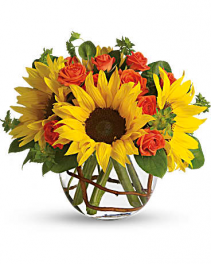 Sunflower, Willow, And Roses Flower Arrangement