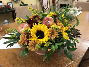 Sunflowers and Apples  Thanksgiving Arrangement in Pittsfield, IL | EASTSIDE GARDENS & BLOOMERS