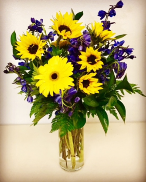 Sunflowers and Blue Delphinums  in Plainview, TX | Kan Del's Floral, Candles & Gifts