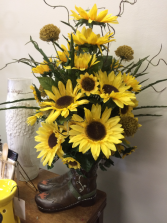 Sunflowers And Boots Silk Arrangement