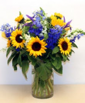 Sunflowers and butterfly vase Mother's day