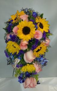 Sunflowers and Delphinium Cascading Bride Bouquet