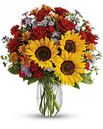 Sunflowers And Red Roses, Etc Flower Arrangement