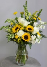 Sunflowers and Roses Fresh Arrangement