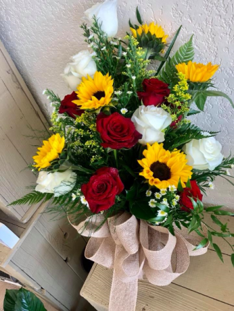 Sunflowers and Roses Graduation Arm Bouquet