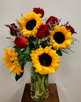 Sunflowers and Roses Half Dozen Rose Arrangement
