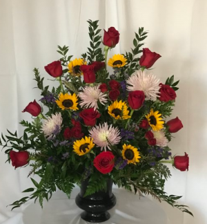 Sunflowers and Roses...Oh My! Funeral Urn in Decatur, TX | A Ray Of Flowers