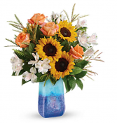 Sunflowers and roses  Vase