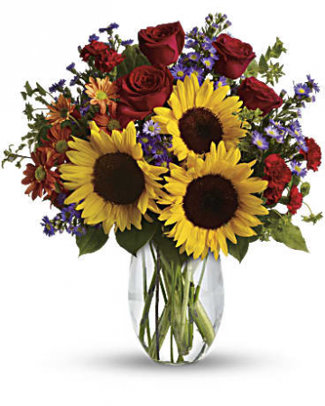 Sunflowers and Roses Vase Arrangement