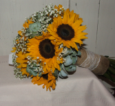 Sunflowers and Succulents Handheld Bouquet