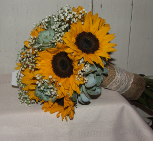 Sunflowers and Succulents Handheld Bouquet in Herndon, PA | BITTERSWEET DESIGNS BY LORRIE