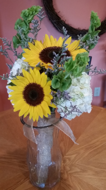 Sunflowers, Bells, &Hydrangea Bridal bouquet