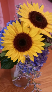 Sunflowers & Blue Hydrangeas Bridesmaid Bouquet