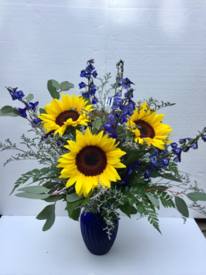 Sunflower Elegance Beautiful combinations of Sunflowers and Delphinium in Clearwater, FL | FLOWERAMA