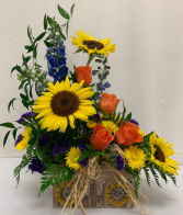 Sunflower Mixed Arrangement in Sunflower Box Fresh Arrangement