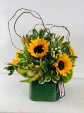 Sunflowers in the Willow  Vase Arrangement