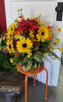 Sunflowers in wooden container Artificial floral arrangement