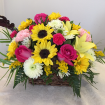 SUNFLOWERS, LILLIES, AND ROSES BASKET ARRANGEMENT