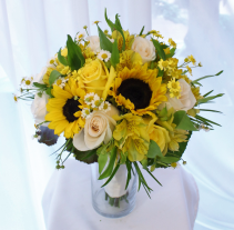Sunflowers, roses & alstromeria Bridal Bouquet