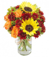 Sunflowers & Roses in a jar