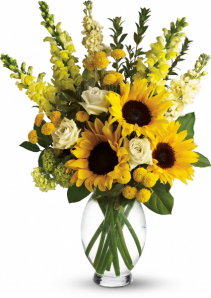 Sunflowers, Snapdragons And Roses Flower Arrangement