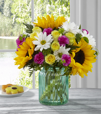 Sunlit meadows aqua vase