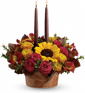 Sunny Autumn Ceramic  Bowl Centerpiece (optional candles) in White Oak, PA | Breitinger's Flowers & Gifts