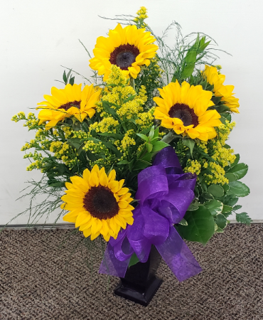 Sunny Bright Sunflowers with Purple Keepsake Vase Arrangement (local Delivery Only)
