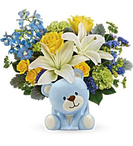Sunny Cheer Bear Bouquet T602-5A in Snellville, GA | SNELLVILLE FLORIST