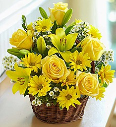 Sunny Day Basket Vibrant Lilies, Roses, & More Brighten the Day in Gainesville, FL | PRANGE'S FLORIST