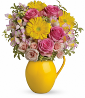 Sunny Day Pitcher Of Charm All-Around Floral Arrangement