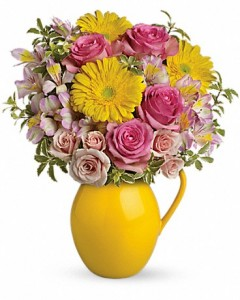 Sunny Day Pitcher of Charm Teleflora - Two Gifts in ONE! in Springfield, IL | FLOWERS BY MARY LOU INC