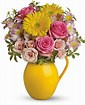 Sunny day pitcher of Charm vase in Claremont, NH | FLORAL DESIGNS BY LINDA PERRON