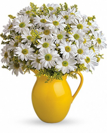 "Sunny Day Pitcher of Daisies T139-1 14""(w) x 16""(h)"