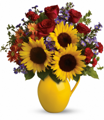 Sunny Day Pitcher of Joy All-Around Floral Arrangement