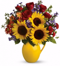 Sunny Day Pitcher of Joy Teleflora Bouquet