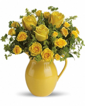 "Sunny Day Pitcher of Roses T 71-1 13.5""(w) x 14.5""(h)"
