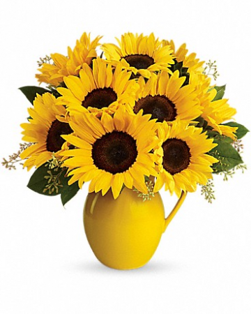 Sunny Day Pitcher of Sunflowers Bouquet