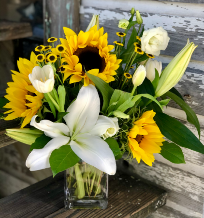 Sunny In Key West Vase of Sunflowers, Lilies & In Season Accents