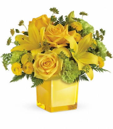 Sending Sunshine Bouquet Cube Vase Arrangement