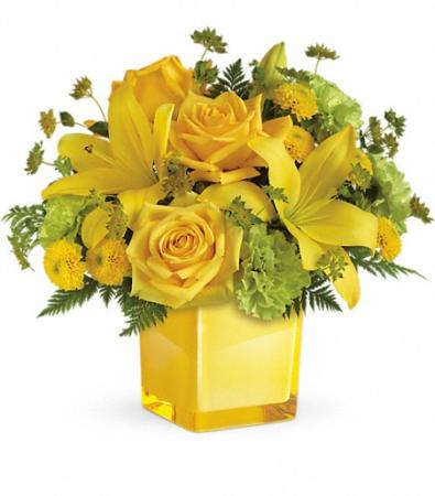 Sending Sunshine Bouquet Cube Vase Arrangement