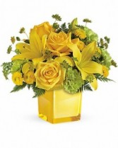 sunny mood yellow cube  yellow and green flowers