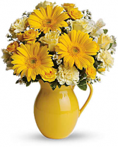 Sunny Smiles Pitcher Bouquet vased arr