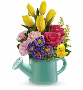 Sunny Watering Can Floral Bouquet in Whitesboro, NY | KOWALSKI FLOWERS INC.